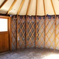 The inside of the yurt at site #34.- Lake View Campground