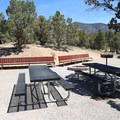 A sizeable group site has multiple tables, benches and grills.- Lake View Campground