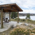 Picnic shelter at Willow Creek Reservoir.- Willow Creek Campground