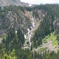 Falls tumbling from Diamond Lake across the valley.- South Arapaho Peak