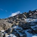 Prepare for 700 feet of scrambling from the saddle.- South Arapaho Peak