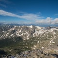 High views toward the south, endless 12ers and 13ers for miles.- South Arapaho Peak