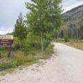 Gravel road leading to Arapaho Bay: Roaring Fork Campground.- Arapaho Bay: Roaring Fork Campground