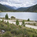 Arapaho Bay: Roaring Fork Campground with a view southeast down the end of Lake Granby and Arapaho Creek Valley.- Arapaho Bay: Roaring Fork Campground