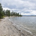 Lake Granby shoreline at Sunset Point Campground.- Sunset Point Campground