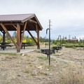 Picnic shelter at Cutthroat Group Campground.- Cutthroat Group Campground