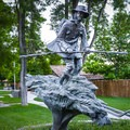 A statue of Snowshoe Thompson inside the park marking his time in the area.- Mormon Station State Historic Park