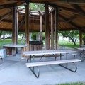 Cooking and sink facilities in the gazebo.- Mormon Station State Historic Park