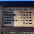 PCT signs indicate distance.- Pacific Crest Trail: California Section A