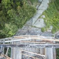 Returning back down the tower.- Pillsbury Mountain Fire Tower