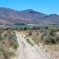 The trail continues in a southeast direction, with the dry Virginia Range in view.- North Loop Hiking Trail