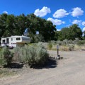 The sites contain the basics of a picnic table and a fire ring.- Dayton State Park Campground
