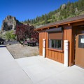 A fee booth sits at the entrance to the parking area, and there is a self-pay station if there is no one working.- Cave Rock State Park