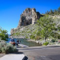Cave Rock overlooks the boat launch area of Cave Rock State Park.- Cave Rock State Park