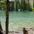 With its clear blue green waters, Fairy Lake is a popular destination.- Fairy Lake to Sacagawea Peak