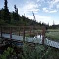 Bridge crossing to hiking trails.- Summit Lake Campground