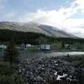 View of the campground looking toward the Alaska Highway.- Summit Lake Campground