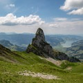 Wandlispitz is an impressive peak, seen here from the southern ridge of Fluebrig.- Fluebrig + Diethelm Loop