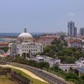 Close-up view to the southeast from San Cristobal's rooftop.- San Juan National Historic Park
