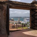 Ancient San Cristobal plaza entrance gate.- San Juan National Historic Park