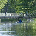A paddler returns up the Big Sable River.- Big Sable River