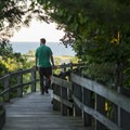 Enjoying a sunset on the Skyline Trail.- Ludington State Park Hiking Trails