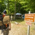 Beginning the hike to the Jack Pine Campground.- Ludington State Park Hiking Trails