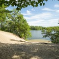 Looking out at Lost Lake.- Ludington State Park Hiking Trails