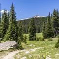 The trail crosses beautiful meadows.- Timberline Lake Hike