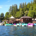 A fleet of rental boats docked at the park store, including pedal boats, kayaks, row boats and electric-assist row boats. - Loch Lomond Paddling