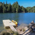 Docks are located on islands and along the lake shore for boats to tie up to.- Loch Lomond Paddling