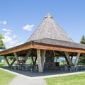 A large picnic shelter at City Beach Park that can be reserved. - Sandpoint City Beach Park