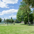 Sandpoint City Beach Park has big grass areas and other playground activities for people of all ages.- Sandpoint City Beach Park