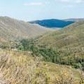 View of La Posta Creek Canyon.- Desert View Trail via Burnt Rancheria Campground