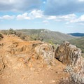 The trail follows a ridge north to the desert overlook.- Desert View Trail via Burnt Rancheria Campground