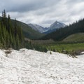 Looking down the snowfield.- Smutwood Pass