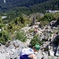 The easy, not so steep terrain just beneath the summit. - West Lion Scramble