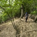 Climbing a steeper section of trail at the Nurnberg Dunes.- Lake Michigan Recreation Area + Nordhouse Dunes Wilderness Area