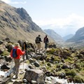 Heading down the valley from the pass toward the Cloud Forest.- Salkantay Trek to Machu Picchu