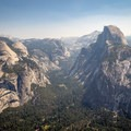 North Dome on the left with Half Dome on the right. - North Dome + Indian Rock Via Porcupine Creek Trailhead