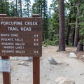 The Trailhead off of Tioga Road. Toilets located here. - North Dome + Indian Rock Via Porcupine Creek Trailhead