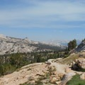 View of the valley and meadow around Vogelsang.- Vogelsang High Sierra Camp