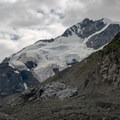 Piz Bernina with one of the many waterfalls coming off of the glacier.- Morteratsch Glacier Walk