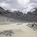 The glacier has mostly retreated back over a large rock outcrop, but you can still see parts of the glacier as well as several large waterfalls that run down the rocks.- Morteratsch Glacier Walk