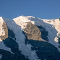 Piz Palü seen from Diavolezza, shortly after sunrise.- Diavolezza, Munt Pers + Sass Queder Hike