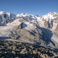 The view toward the Vadret Pers Glacier from Munt Pers.- Diavolezza, Munt Pers + Sass Queder Hike