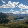 The views of Lago Bianco and farther are excellent.- Diavolezza, Munt Pers + Sass Queder Hike