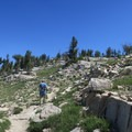 Hiking up the summit trail to Eagle Cap.- Eagle Cap