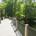 Boardwalks over and along the Big Sable River provide access to the water for floaters and paddlers.- Ludington State Park