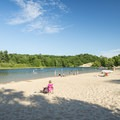 The beach on Hamlin Lake provides a more sheltered swimming experience.- Ludington State Park